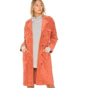 Tularosa Vanessa Rust Faux Suede Trench Coat